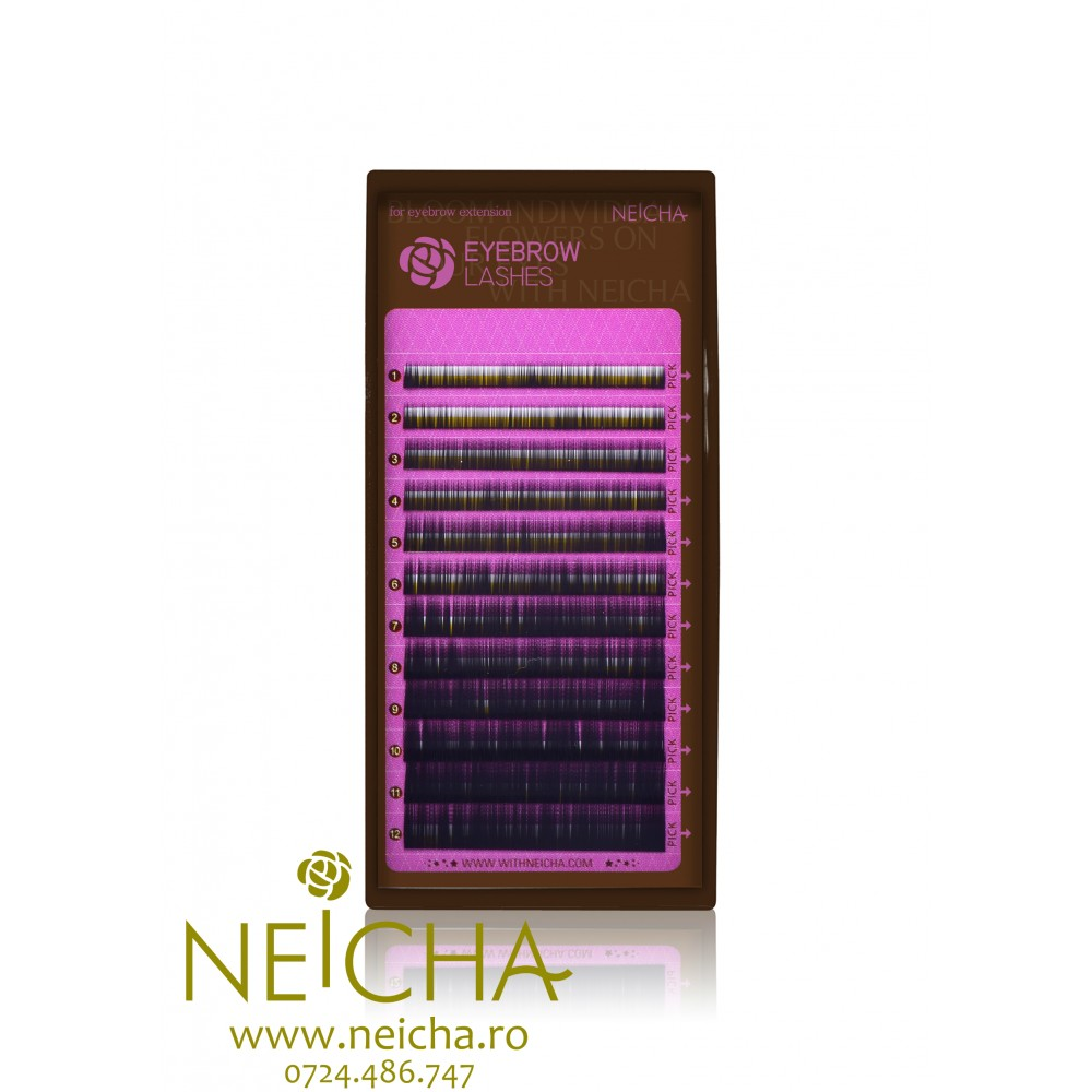 NEICHA EYEBROW BLACK LASHES 12 LINII MIX