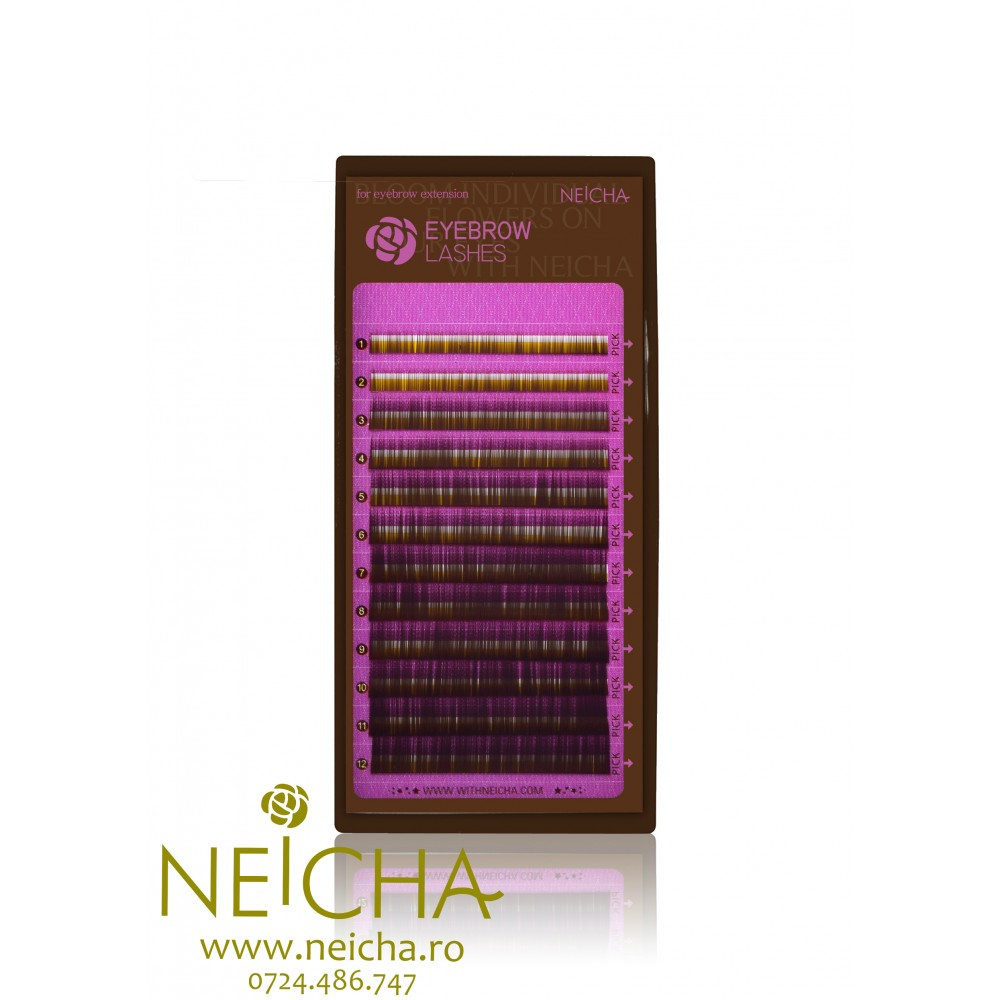NEICHA EYEBROW DARK BROWN LASHES 12 LINII MIX