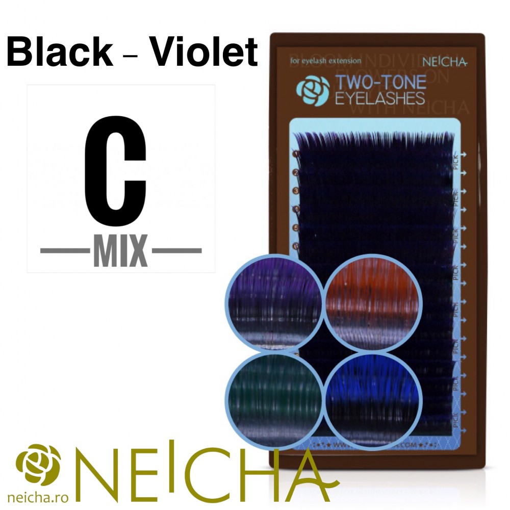 NEICHA TWO TONE LASHES MIX BLACK-VIOLET