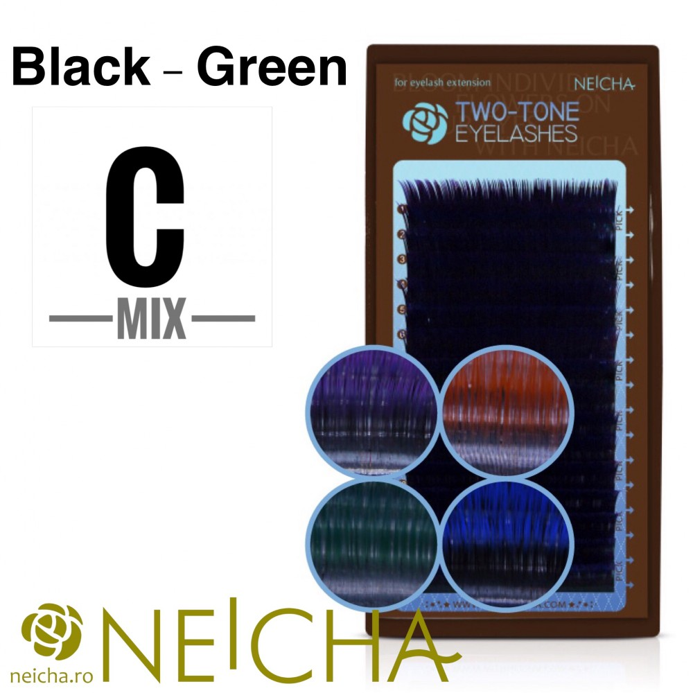 NEICHA TWO TONE LASHES MIX BLACK-GREEN