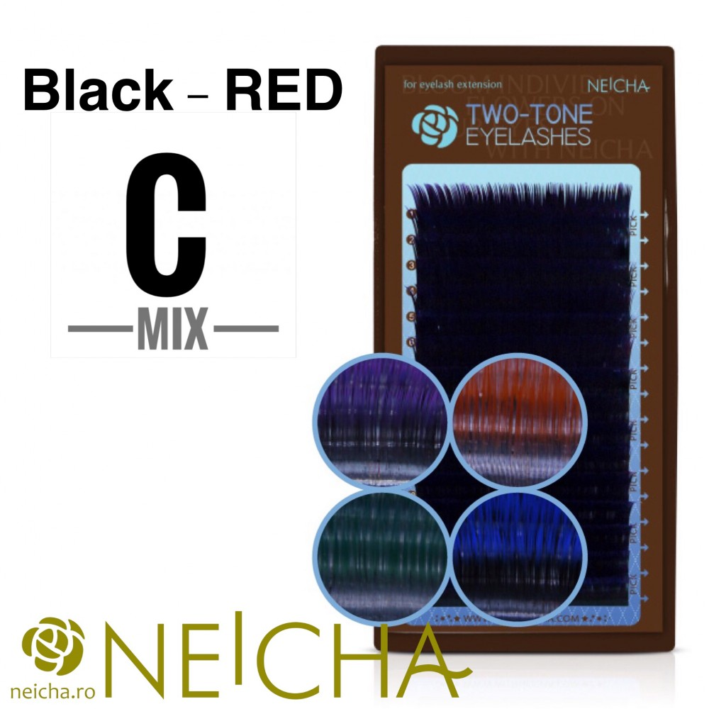 NEICHA TWO TONE LASHES MIX BLACK-RED