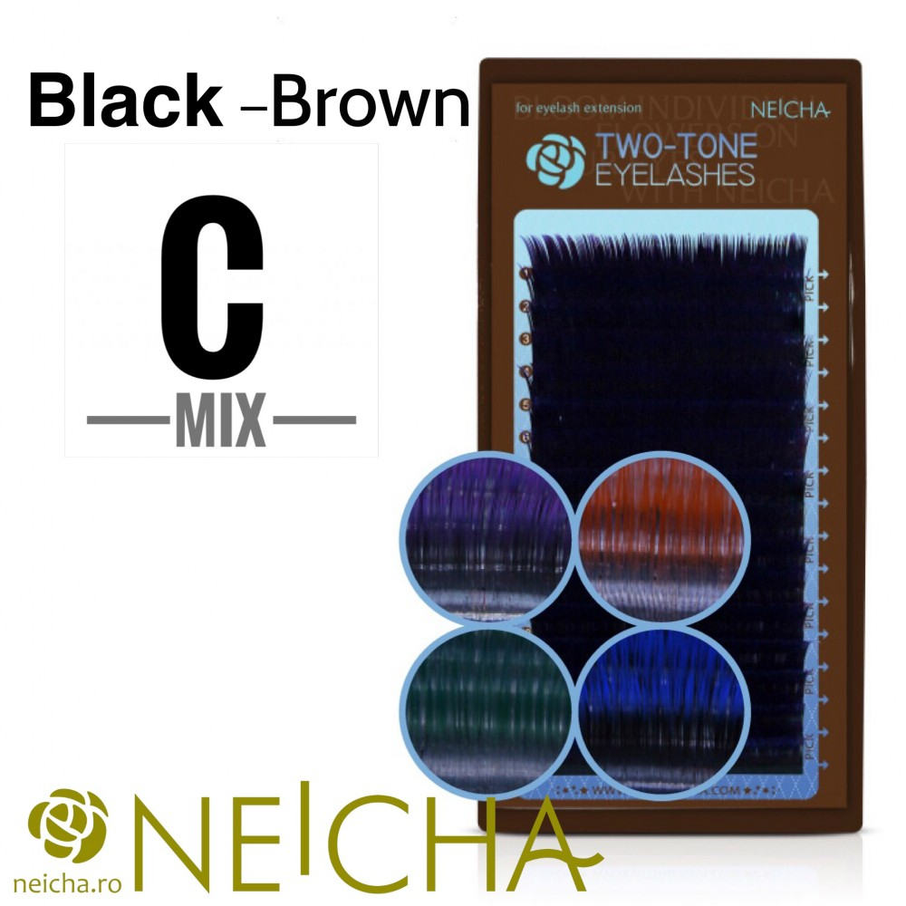 NEICHA TWO TONE LASHES MIX BLACK-BROWN